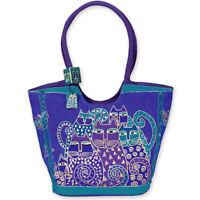 Green Cats Laurel Burch Large Canvas Purse Tote Scoop Bag Handbag