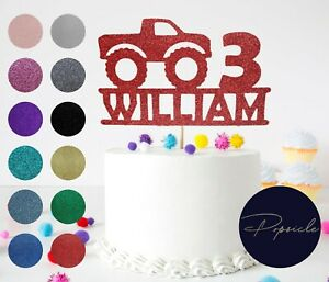 Personalised Birthday Monster Truck Glitter Cake Topper