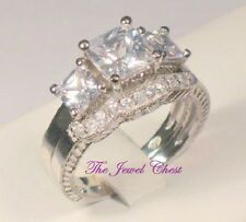 3 Ct Princess Trilogy Diamond Engagement Ring Vintage Bridal set White Gold