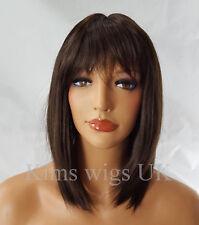 CHWGJF10590 vogue medium straight health women's Wig dark brown hair bangs wigs