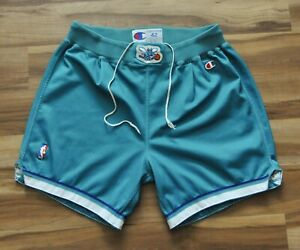 CHARLOTTE HORNETS SHORTS TEAL CHAMPION TEAM ISSUED/GAME USED(?) 42+2