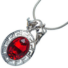 4.76 Ct Oval Cut Red Garnet 18K White Gold Plated 12 Chinese Zodiac Ox Pendant