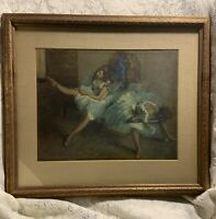 """Vintage MCM Before the Ballet by Edgar Degas Framed Print Large Matted 17.5""""x20"""""""