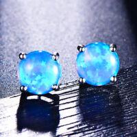 Cute Sweet Round Blue Fire Opal 925 Silver Stud Earrings Womens Wedding Jewelry