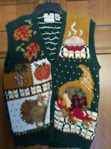 Vtg Faith Mountain Thanksgiving Sweater Vest Turkey Fall Leaves Pumpkin Women XL