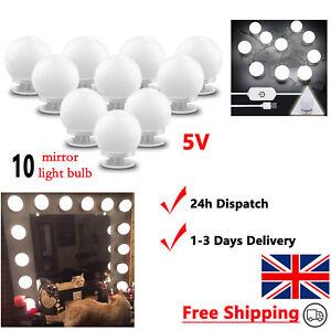 Make Up Mirror Lights Hollywood Vanity 10 LED USB Dressing Table Bathroom Bulbs
