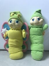 TWO VINTAGE GLO WORMS STUFFED ANIMAL PLUSH BRAND TOP TOYS (extremely rare)