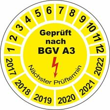 1000 Stück Prüfplaketten Geprüft nach BGV A3 20mm BGVA3 Prüfsiegel 10648