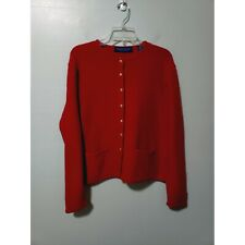 Karen Scott Womens Red Pure Wool Gold Button Down Sweater Jacket Size Large
