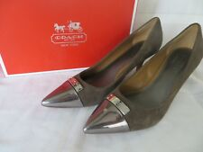 COACH Zan Size 8B Brown Suede Leather Pewter Toe Med Heel Banded Classic Pumps