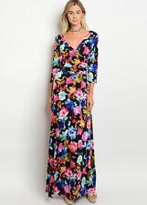 Black Tropical Floral Print WRAP MAXI DRESS Long V-Neck 3/4 Sleeves Surplice