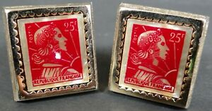 Vtg Hickok Cufflinks Red French Postage Stamp on Mother of Pearl MOP Gold Tone
