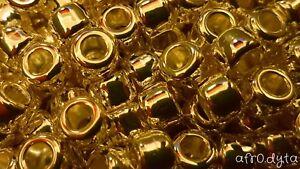 100 Metallic Gold Chrome Pony Beads 9x6mm Barrel Shape For Jewellery BUY 3 FOR 2