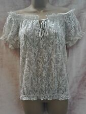 Stone lace gypsy top size 6 off shoulder peasant blouse