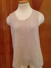 Chico's Size 2 = L 12 14 Hand Washable Cotton with Gold Metallic Knit Top EUC