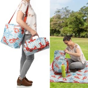 2pc Insulated Cooler Bag Picnic Blanket Set Leakproof Portable Picnic Supplies