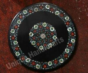 Patio Furniture Black Marble Dining Table Top Inlay Pietradura Antique Rare Arts