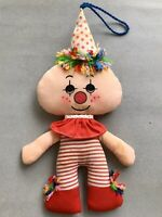 VTG 1980s CLOWN Stuffed Doll Red Striped Clothing CUTE HANDMADE Collectible Toy