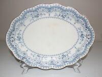 """Johnson Brothers Bros Dorothy 12 3/4"""" Oval Serving Platter Flow Blue Gold Trim"""