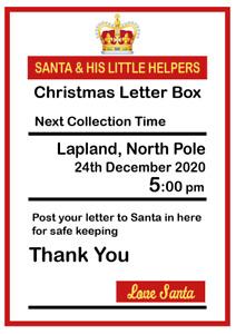 Santa's Post Box Sign Card A6, A5 OR A4 - Xmas Christmas Sign - Personalised
