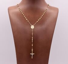 "17"" 3mm Rosary Chain Medal Cross Crucifix Necklace Real 14K Yellow White Gold"