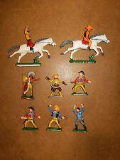 Lot d'anciennes figurines vintage - CLAIRET - Cowboys et Indiens - 60's