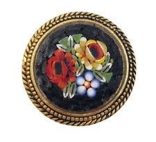 "Beautiful Vintage Micro Mosaic Gold Tone Circle Brooch Pin Flower Design 1 1/4"""