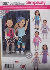 """18"""" GIRL DOLL CLOTHES Simplicity Sewing Pattern 1087 American Made NEW Uncut"""