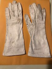 Vintage Miss Aris White/ivory Feather Leather Gloves Size 7.5