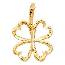 Heart Clover Leaf Pendant Charm 14k Solid Yellow Gold Open