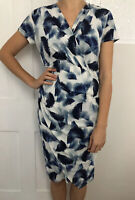 Phase Eight Women Dress Size 14 Blue Knee Length Short Sleeve Faux Wrap Feather