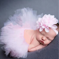 Newborn Baby Kid Girl Flower Headband+Tutu Skirt Photo Costume Outfit Prop US