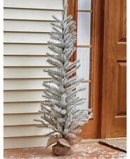 4 Foot Tall White Glitter Tinsel Christmas Tree w/ Burlap Sack Base