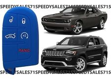 Blue Rubber Smart Key Fob Remote Case Cover For Jeep Dodge Chrysler New USA