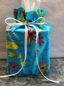 Green Frogs Lilly Pads Flowers cotton Fabric handmade square Tissue Box Cover