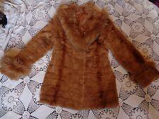Vintage amber tan orange genuine rabbit fox fur cuff collar swing coat jacket L