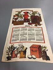 Vintage Linen Calendar Towel 1971 General Store Tea Towel Kitchen Dish