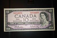 1954 $10 Dollar Bank of Canada Banknote EV0734970 VF 20