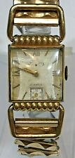 Men's Lord Elgin 21 Jewels WWII Drivers Watch Fancy Lugs 14K Gold Filled Square