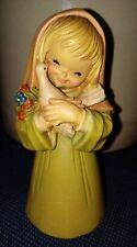"Vintage Anri Ferrandiz Wood Carved 5 3/4"" Little Girl With Dove"