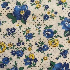 Vintage 30s 40s Feedsack Fabric Gorgeous Floral & Dots Tiny Blue Yellow Pristine