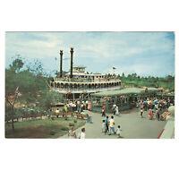 Disneyland Vintage Unused Postcard 1955 Mark Twain Steamboat at Dock P12292