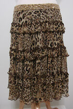 Robert Rodriguez 100% Silk Animal Print Tiered Ruffled Gold Bead Skirt NWOT 6