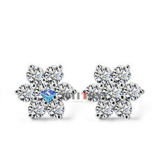 Snowflake Ear Studs 18K White GP Use Swarovski Crystal Earrings Ladies Jewellery
