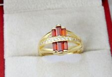 Garnet Cocktail Yellow Gold Filled Costume Rings