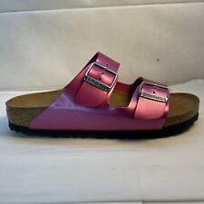 Birkenstock Arizona Metallic Magenta Pink Leather Sandals Women's Size 39 EUR