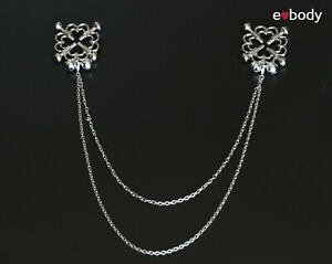 Double Chain Bells Screw Clamps Flower Adjustable Non Piercing Nipple Rings