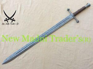 "AMAZING 44"" DAMASCUS CUSTOM HANDMADE BROWN LEATHER HANDLE SWORD (NMT-190614)"