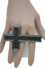 Women Pewter Metal Ring Fashion Wide 4 Fingers Band Cross Religious Black Beads