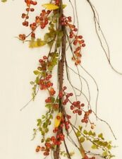 BITTERSWEET BERRIES BABY GRASS GARLAND Twig Swag Floral Vine Orange Country Fall